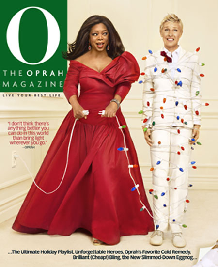oprah ellen christmas cover with lights