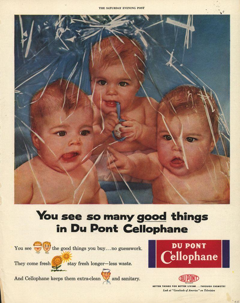 Babies-in-plastic-wrap-vintage-ad